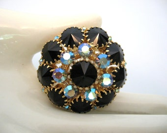 Vintage Rhinestone Brooch - Black Rivoli and Blue AB