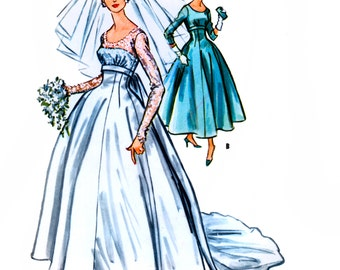 McCall's 4789 Vintage 50s Misses' Wedding and Bridesmaid Dress Sewing Pattern - Uncut - Size 12 - Bust 32