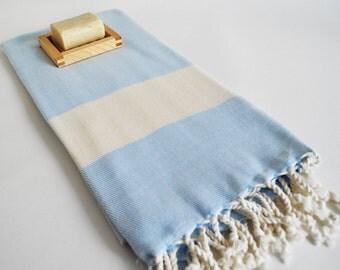 Bathstyle Turkish BATH Towel Peshtemal - SOFT - Blue Color - Wedding Gift, Beach, Spa, Swim, Pool Towels and Pareo