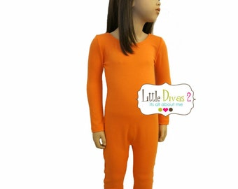 Orange- UNITARD /Child ---(Scoop) Neck Long Sleeve Unitard.... great for COSTUMES/HALLOWEEN