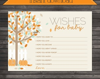 Fall Baby Shower Wishes for Baby Cards Printable - Instant Download - Pumpkin Baby Shower Well Wishes For Baby - Baby Shower Advice Cards