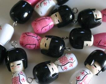 Haru - 1 Wooden PINK Japanese Kokeshi doll charm