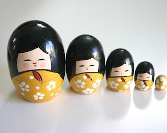 GOLD Kokeshi Russian Dolls - 1 set of Nested Matryoshka Wooden Japanese Kokeshi doll