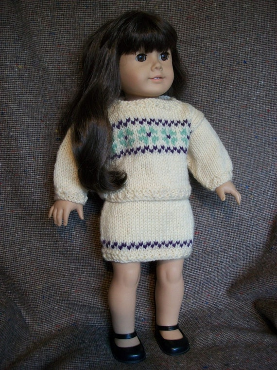Knitting Pattern For Dolls Skirt : Knitting Pattern Sweater and Skirt fits American Girl Doll PDF