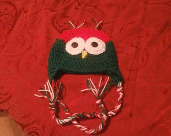 crochet christmas owl hat, child