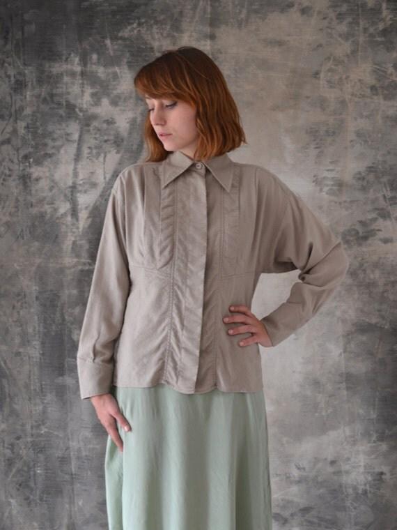 Karl Lagerfeld Grey Wool Button Up Shirt