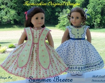 "PDF Sewing Pattern / Summer Breeze / 2 Summer Gowns for American Girl Marie Grace, Cecile, Caroline or other 18"" Dolls"