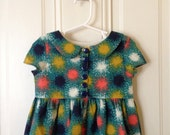 The Paleontogist Dress in Cotton and Steel Dandelion Teal fabric by Sarah Watts Toddler Dress Peter Pan Collar