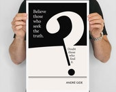 """Literary Art Print, """"Andre Gide"""" Large Wall Art Posters, Literary Quote Poster, Illustration, Black and White Art, Literary Gift"""