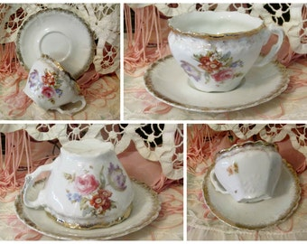 Beautiful Vintage French Floral Gold Porcelain Teacup Saucer Shabby French Cottage