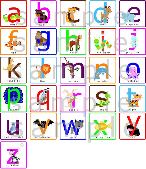 Alphabet Letters Wall Decal Alphabet Animals By Paintlessdeco