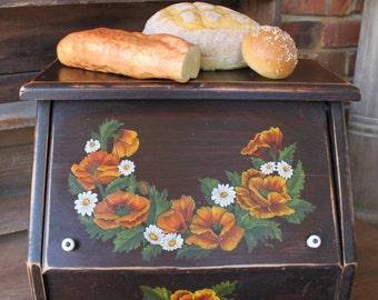 Vintage FARMHOUSE BREADBOX, Wood Breadbox with Porcelain Knobs, Vintage Breadbox, Handmade Breadbox, Painted Breadbox, Kitchen Storage