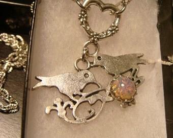 Modern Birds with Fire Opal Heart Love Necklace (1558)