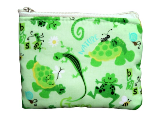 Frogs and Bugs Coin Bag