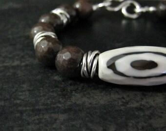 Bohemian Bracelet | Chocolate Brown Quartz Bracelet | Chunky Tibetan Bracelet | DZI Agate Bracelet | Ethnic Jewelry