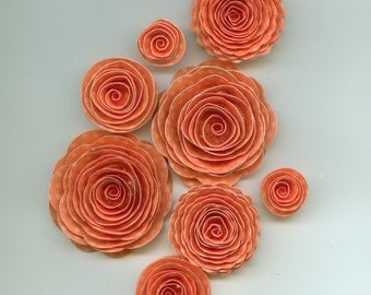 Coral Dot Rose Spiral Paper Flowers for Weddings, Bouquets, Events and Crafts