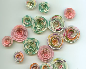 Easter Handmade Spiral Paper Flowers Pink, Aqua, Pastel Colors
