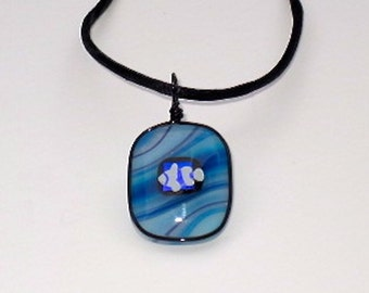 Little Clown Fish-Fused Glass Pendant with Wispy Blue