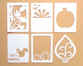 "Let's Gather Autumn / Fall 3x4"" Die Cut Cards, Pocket Scrapbooking Cards, Filler Cards, Journaling Cards, Scrapbooking Embellishments"