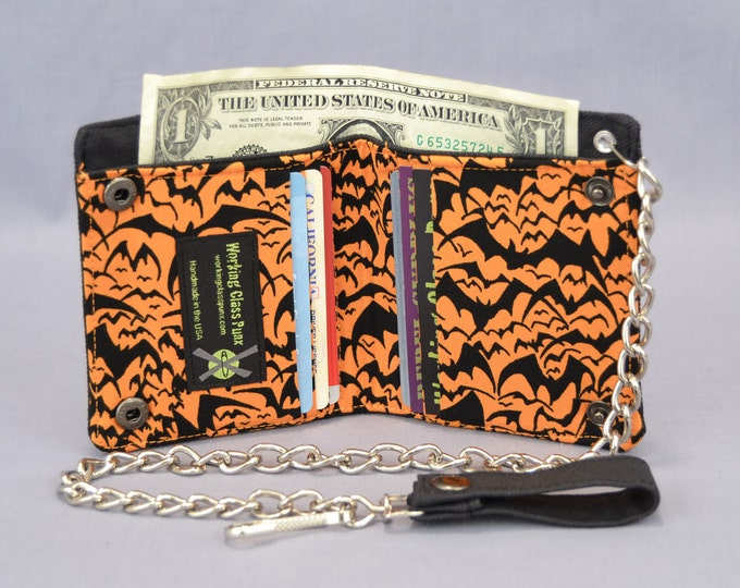 Halloween Bats Vegan Chain Wallet, Black and Orange, Fabric Pockets, Black Canvas Bi-fold, Detachable Chain