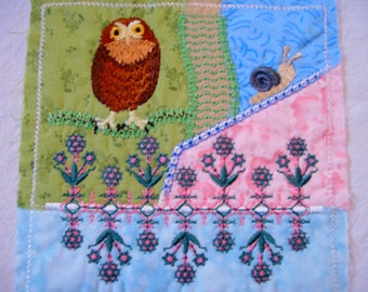 machine embroidered quilt block  crazy quilt embroidery  patchwork quilt block