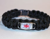 Type 2 Diabetic Medical Alert ID ALLOY Charm on 550 Paracord Survival Strap Bracelet with Plastic Contoured Side Release Buckle
