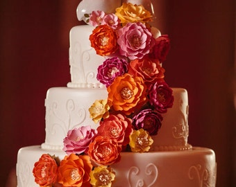 Paper Cake Flowers - Flower Wedding Cake - Paper Flowers - Cake Flowers - Made To Order - Custom Colors Available