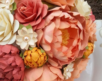 Paper Bouquet - Paper Flower Bouquet - Wedding Bouquet - Peach and Coral - Custom Made - Any Color