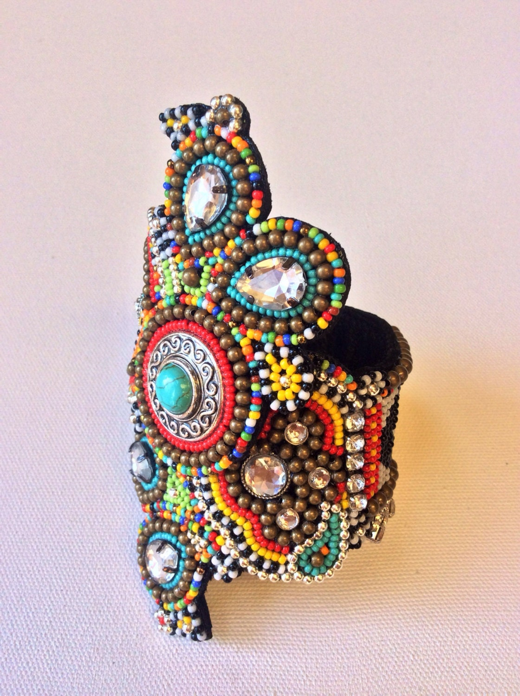 Bead embroidery cuff bracelet tribal boho