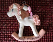 Baby's First Christmas Rockinghorse Ornament (girl)