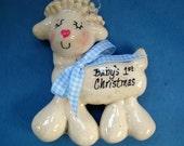First Christmas Lamb Ornament handmade bread dough