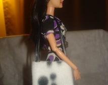 Black & white paw print Fleece tote bag purse for Fashion Dolls - bap25