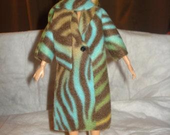 Handmade multi-colored Zebra print Fleece coat and scarf for Fashion Dolls - ed445