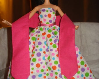 Colorful polka dot formal with bright pink shall & Tulle slip for Fashion Dolls - ed396