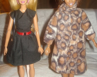 Complete Black & Leopard Look - Dress, coat, purse and shoe set for Fashion Dolls - ed517