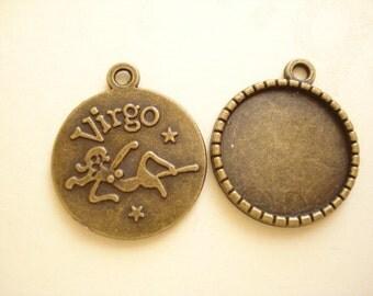 6pcs Constellation Virgo Cameo Base 23mm (20mm Cabochon) B-1004
