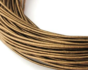 LRD0110052) 1.0mm Kansa Genuine Metallic Round Leather Cord.  1.3 meter, 3 meters, 6.2 meters, 11.7 meters.  Length Available.