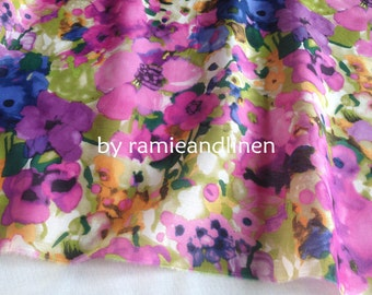 "silk fabric, water colour floral print silk cotton blend fabric, half yard by 53"" wide"