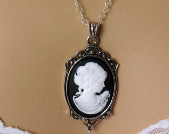Black Bridesmaid Jewelry Cameo Necklace Black Cameo Bridesmaid Gift Wedding Party White and Black Victorian Woman Cameo Jewelry