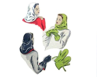 Vintage Winter Hoodie Pattern Gauntlet Mittens 1940s Vogue 5264