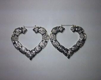 Gold/Silver Bamboo Heart Hoop Earrings 3 inch