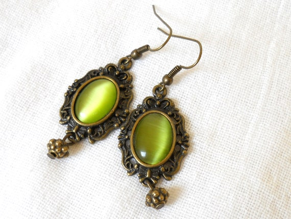 green chandelier earrings green earrings turquoise and bronze