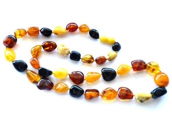 """Baltic Amber Necklace Multicolor Beaded 24"""" 35 gram"""