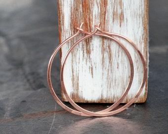 Rose gold earrings - 14k rose gold filled hoop earrings - pink gold earrings - rose gold filled jewelry - gift for her