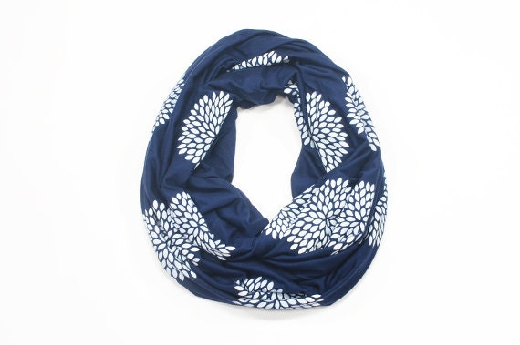 INFINITY SCARF - Screen Printed - White Flowers on Navy Blue