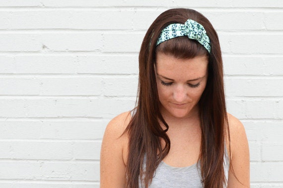 Twist Hair Scarf - Screenprinted Wire Headband - Navy on Mint