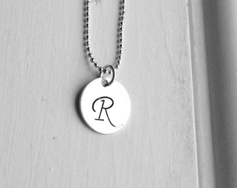 Sterling Silver Letter R Necklace, Initial Necklace, Hand Stamped Necklace, Personalized Jewelry, Letter R Jewelry, Charm Necklace, Monogram
