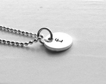 Letter f Necklace, Sterling Silver Jewelry, Small Initial Necklace, Hand Stamped Jewelry, Monogram Necklace, Hand Stamped Initial Charm