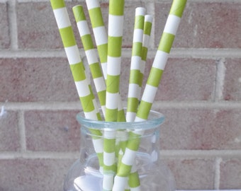 Paper Straws (24) Green and White Rugby Stripe.   Crafting, Parties, Gifting