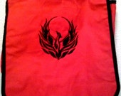 Black Phoenix on  red blue Messenger Bag Filled machine Embroidered embroidery